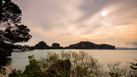 Natural landscape beautiful sea around the Khao Tapu or James Bond Island at the evening during the summer in Ao Phang Nga Bay National Park Thailand 16:9 Widescreen photo