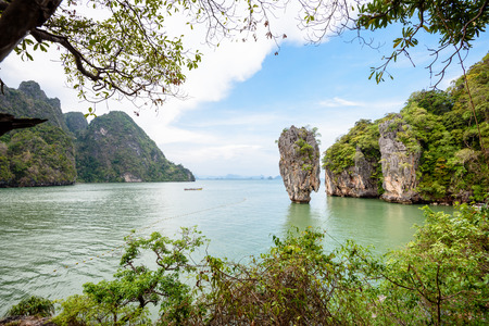 james: High angle view beautiful landscape sea and sky at view point of Khao Tapu or James Bond Island in Ao Phang Nga Bay National Park Thailand