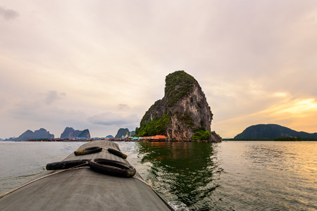 Beautiful landscapes of the sea in the sunset. During the trip from Koh Panyi or Koh Panyee island by boat in Ao Phang Nga Bay National Park Thailand photo