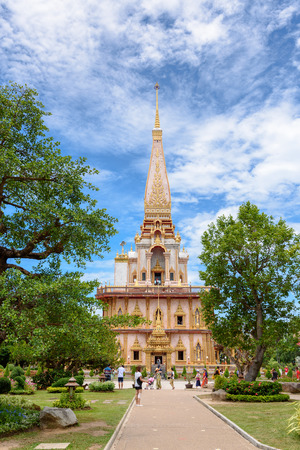 chalong: PHUKET THAILAND  APRIL 28 2015: Tourists are visiting in Wat Chalong or Wat Chaitararam Temple famous attractions and place of worship APRIL 28 2015 in Thailand Editorial