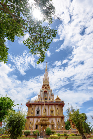 place of worship: Beautiful pagoda at Wat Chalong or Wat Chaitararam Temple famous attractions and place of worship in Phuket Province Thailand Stock Photo