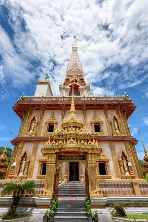phuket province: Beautiful pagoda at Wat Chalong or Wat Chaitararam Temple famous attractions and place of worship in Phuket Province Thailand Stock Photo
