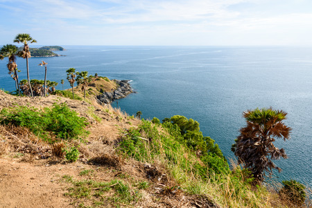 phuket province: High angle view beautiful landscape of the island and Andaman sea from Laem Phromthep Cape scenic point is a famous attractions of Phuket Province in Thailand