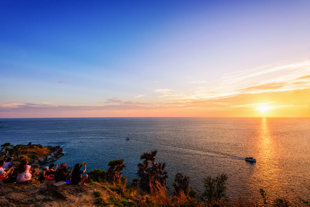 phuket province: Colorful landscape beautiful sunset over the island and sea at Laem Phromthep Cape scenic point is a famous attractions of Phuket Province in Thailand