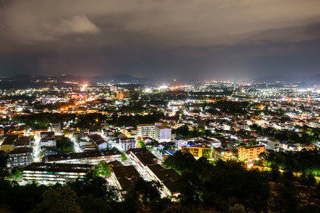 phuket province: High angle view city at night sky from Khao Rang viewpoint is a tourist town near the sea on big island of Phuket province in Thailand
