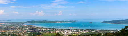 phuket province: High angle view beautiful panorama landscape of Ao Chalong bay and city sea side in Phuket Province, Thailand Stock Photo
