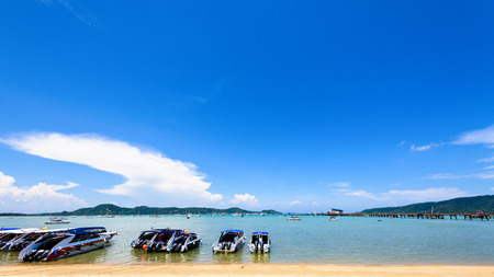 chalong: Beach harbor area for tourist traveling to the sea at Chalong Bay famous attractions in Phuket island, Thailand, Thailand, 16:9 Wide Screen Stock Photo