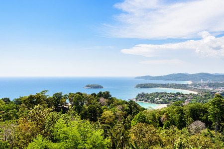 kata: High scenic view beautiful landscape blue sky in summer over the sea at Hat Kata Karon or Three Beach Viewpoint in Phuket island, Thailand