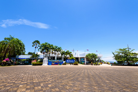renowned: PHUKET, THAILAND - APRIL 29 2015: Front exterior building of Phuket Aquarium and tourists who come to visit, is part of the international renowned marine biological center on Cape Panwa in Phuket Province, APRIL 29 2015 in Thailand