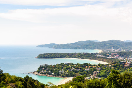 kata: High scenic view beautiful landscape three beach and sea at Hat Kata Karon Viewpoint in Phuket island, Thailand