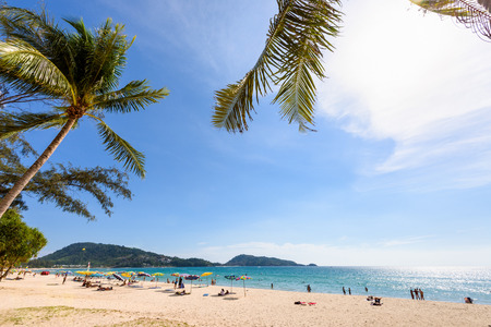 tourist attraction: Beautiful landscape Hat Patong Beach and Andaman Sea under sky sunny at the summer, famous attractions in Phuket island of Thailand