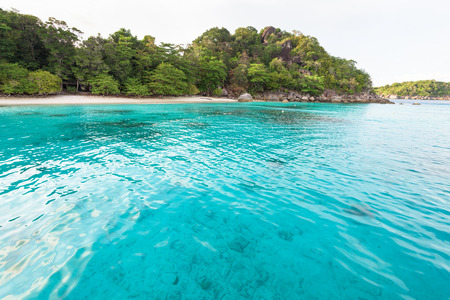 honey moon: Beautiful green blue sea front small beach at Honeymoon Bay is a famous attractions for diving on Ko Miang island in Mu Koh Similan National Park, Phang Nga Province, Thailand