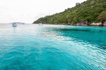 honey moon: Beautiful landscape clear blue water sea of Honeymoon Bay   Stock Photo