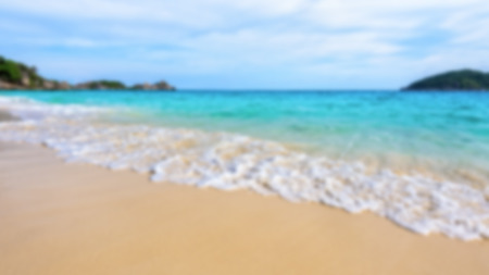 blue widescreen widescreen: Blurred photograph for background beautiful landscape blue sea and white waves on beach in summer at Koh Miang island, Mu Ko Similan National Park, Phang Nga province, Thailand, 16:9 widescreen