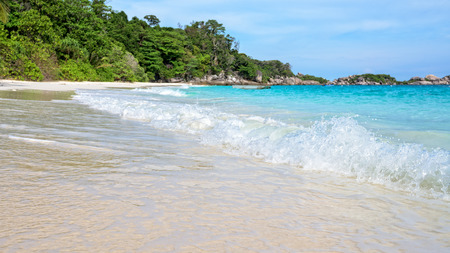 blue widescreen widescreen: Beautiful nature of blue sea sand and white waves on the beach during summer at Koh Miang island in Mu Ko Similan National Park, Phang Nga province, Thailand, 16:9 widescreen Stock Photo