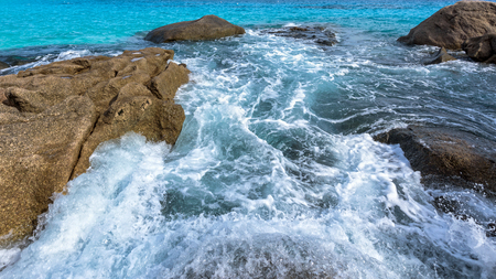 blue widescreen widescreen: Beautiful landscape blue sea and white waves near the rocks during summer at Koh Miang island in Mu Ko Similan National Park, Phang Nga province, Thailand, 16:9 widescreen