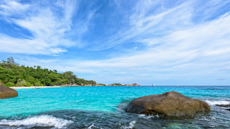 blue widescreen widescreen: Beautiful landscape blue sky and sea on beach near the rocks during summer at Koh Miang island in Mu Ko Similan National Park, Phang Nga province, Thailand, 16:9 widescreen