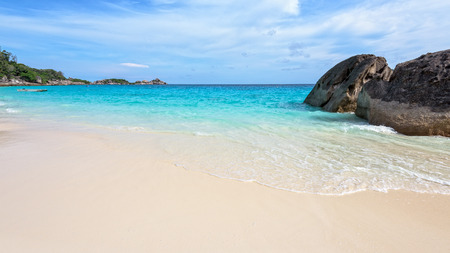 blue widescreen widescreen: Beautiful landscape of blue sky sea sand and white waves on the beach during summer at Koh Miang island in Mu Ko Similan National Park, Phang Nga province, Thailand, 16:9 widescreen Stock Photo
