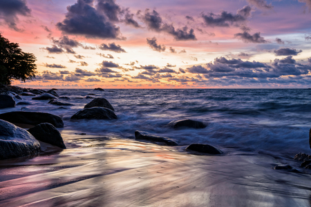Beautiful landscape of sky and clouds above the sea during sunset at Khao Lak Beach in Khao Lak-Lam Ru National Park, Takuapa, Phang Nga province, Thailand