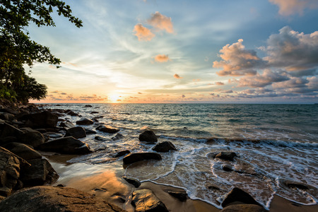SEA  LANDSCAPE: Beautiful landscape of sky and clouds above the sea during sunset at Khao Lak Beach in Khao Lak-Lam Ru National Park, Takuapa, Phang Nga province, Thailand
