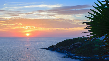 wide screen: High angle view beautiful landscape of sunset over the Andaman sea from Laem Phromthep Cape scenic point is a famous attractions of Phuket Province in Thailand, 16:9 wide screen