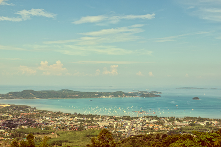 phuket province: Vintage style high angle view beautiful landscape of Ao Chalong bay and city sea side in Phuket Province, Thailand
