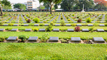 wide screen: Kanchanaburi War Cemetery (Don Rak) is the historical monuments of the World War II who died during the construction of the Death Railway in Kanchanaburi Province, Thailand, 16:9 wide screen