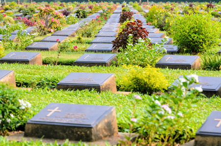 prisoners: Kanchanaburi War Cemetery (Don Rak) is the historical monuments of allied prisoners of the World War II who died during the construction of the Death Railway in Kanchanaburi Province, Thailand