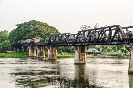 Trains for travel running on the old bridge over the River Kwai Yai is a historical attractions during World War 2 the famous of Kanchanaburi Province in Thailand