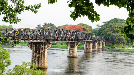 Old bridge over the River Kwai Yai is a historical attractions during World War 2 the famous of Kanchanaburi Province in Thailand,16:9 wide screen Stock Photo