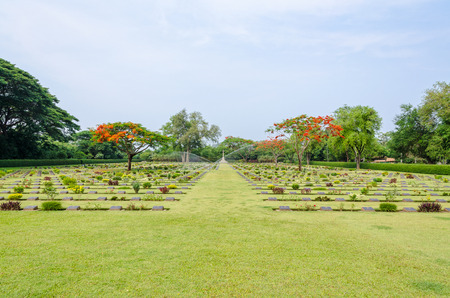 Chungkai War Cemetery this is historical monuments where to respect prisoners of the World War 2 who rest in peace here, Kanchanaburi Province, Thailand