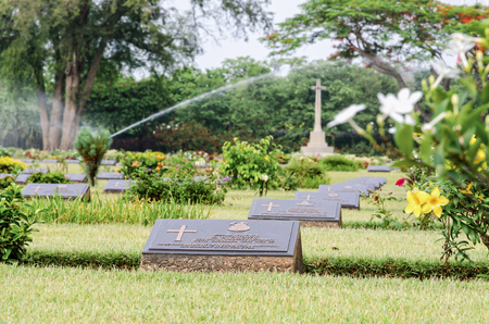 KANCHANABURI, THAILAND - MAY 3, 2014: Chungkai War Cemetery this is historical monuments where to respect prisoners of the World War 2 who rest in peace here, MAY 3, 2014 in Thailand Editorial