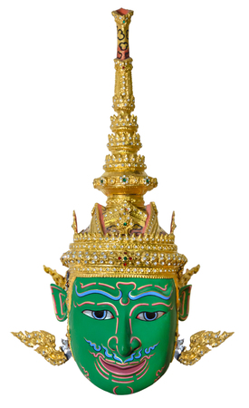 actors: Green actors mask used head wear for staging isolated on white background, The traditional culture pantomime in Thailand