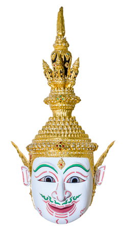 White actors mask used head wear for staging isolated on white background, The traditional culture pantomime in Thailand