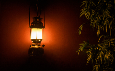 Light lantern on the wall next to a tree at night for a background Stock Photo