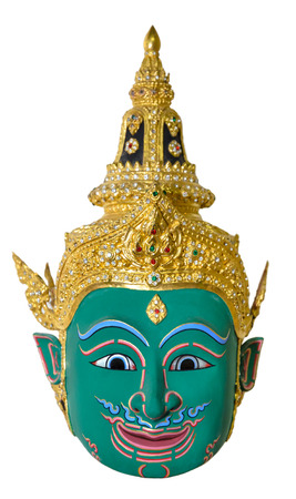 Green actors mask used head wear for staging isolated on white background, The traditional culture pantomime in Thailand
