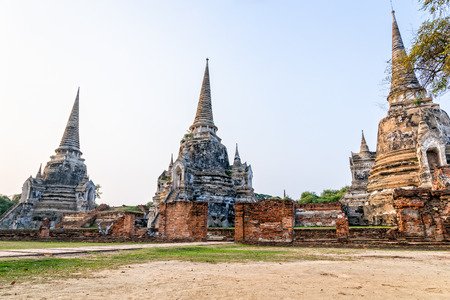 Ruins of ancient architecture three pagoda of Wat Phra Si Sanphet old temple famous attractions at Phra Nakhon Si Ayutthaya Historical Park in Ayutthaya Province, Thailand Stock Photo