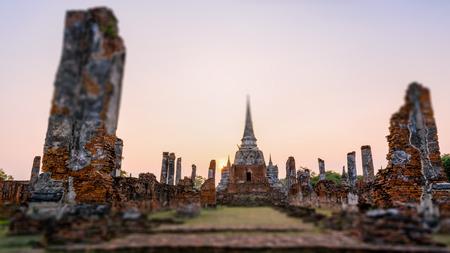 Tilt-Shift for background, Ancient ruins and pagoda of Wat Phra Si Sanphet old temple famous attractions during sunset at Phra Nakhon Si Ayutthaya Historical Park, Thailand, 16:9 wide screen
