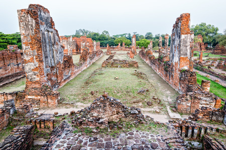 Ruins and pagoda ancient architecture of Wat Phra Si Sanphet old temple famous attractions at Phra Nakhon Si Ayutthaya Historical Park in Ayutthaya Province, Thailand