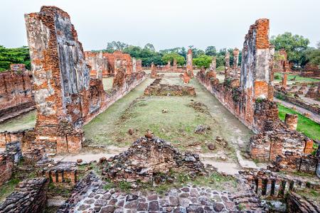 phra nakhon si ayutthaya: Ruins and pagoda ancient architecture of Wat Phra Si Sanphet old temple famous attractions at Phra Nakhon Si Ayutthaya Historical Park in Ayutthaya Province, Thailand