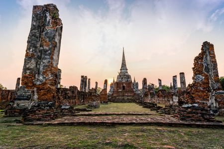 famous ancient architecture. Ruins And Pagoda Ancient Architecture Of Wat Phra Si Sanphet Old Temple  Famous Attractions During Sunset E