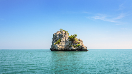 blue widescreen widescreen: Beautiful natural landscape of small island on the sea under bright blue sky in summer at Mu Ko Ang Thong National Marine Park is a attractions in Surat Thani, Thailand, 16:9 widescreen