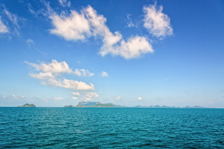Beautiful natural seascape of the sea under bright blue sky in summer, overlooking the horizon at Mu Ko Ang Thong National Marine Park is a famous tourist destination Surat Thani province, Thailand.