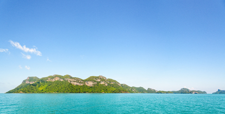 blue widescreen widescreen: Panorama beautiful natural landscape front of the island on the sea under bright blue sky in summer at Mu Ko Ang Thong National Marine Park is a famous attractions in Surat Thani, Thailand