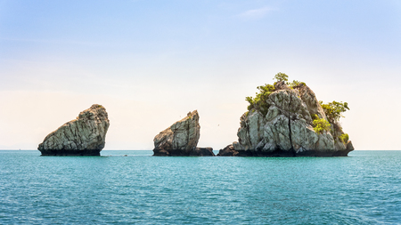 Beautiful natural landscape of small island on the sea under bright blue sky in summer at Mu Ko Ang Thong National Marine Park is a attractions in Surat Thani, Thailand, 16:9 widescreen