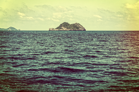 Old picture vintage style of the small island in the sea at Mu Ko Ang Thong National Marine Park, Surat Thani province, Thailand Stock Photo