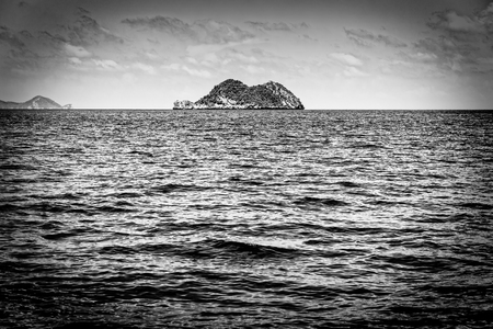 Old black and white picture of the small island in the sea at Mu Ko Ang Thong National Marine Park, Surat Thani province, Thailand Stock Photo