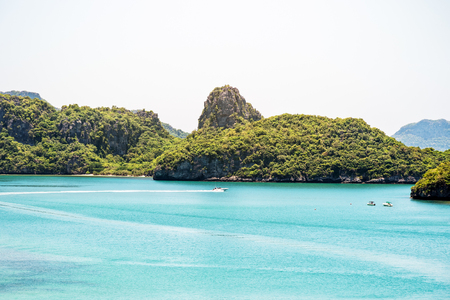 High angle view beautiful natural landscape of Ko Mae Ko island in the sea in summer at Mu Ko Ang Thong National Marine Park is a famous attractions in Surat Thani province, Thailand
