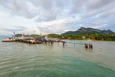 SURAT THANI, THAILAND-APRIL 24, Seatran Ferry Pier, large passenger pier to Koh Samui island at Amphur Donsak, APRIL 25, 2017 in Thailand