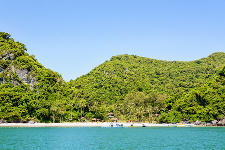 Beautiful natural landscapes of the island, beach and sea during summer at the floating pier front of the Ko Wua Talap island in Mu Ko Ang Thong National Marine Park, Surat Thani province, Thailand